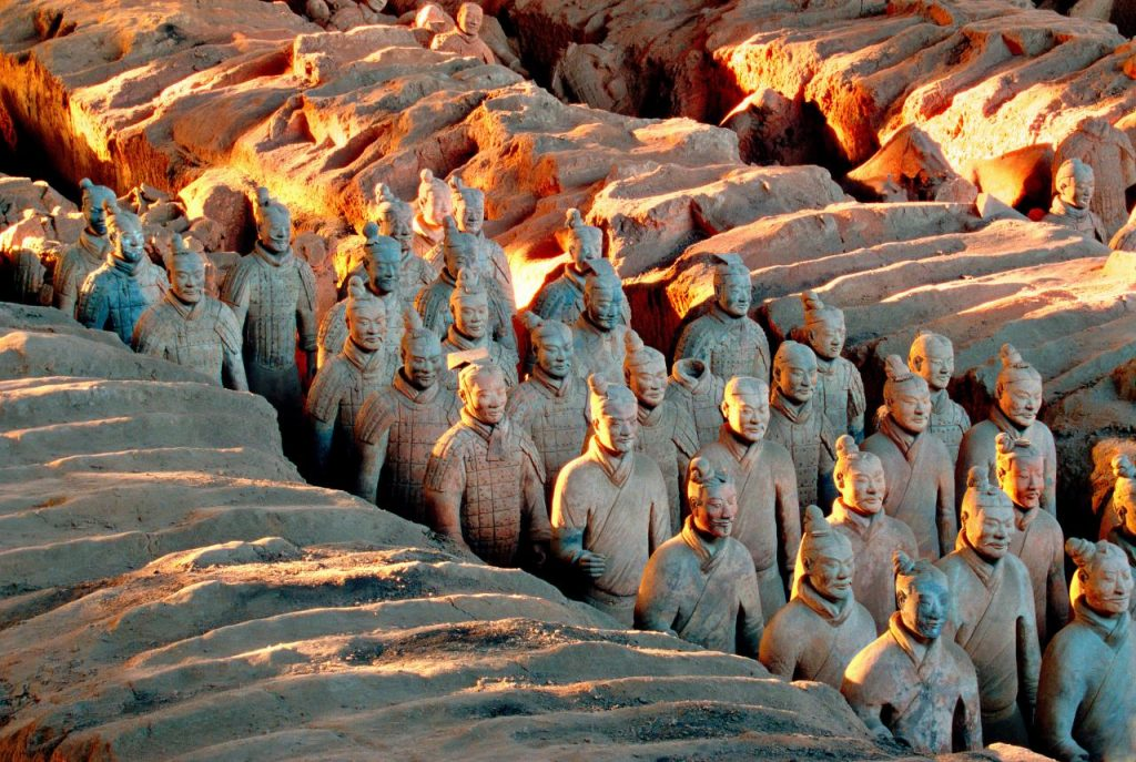 Rows of stone warrior statues