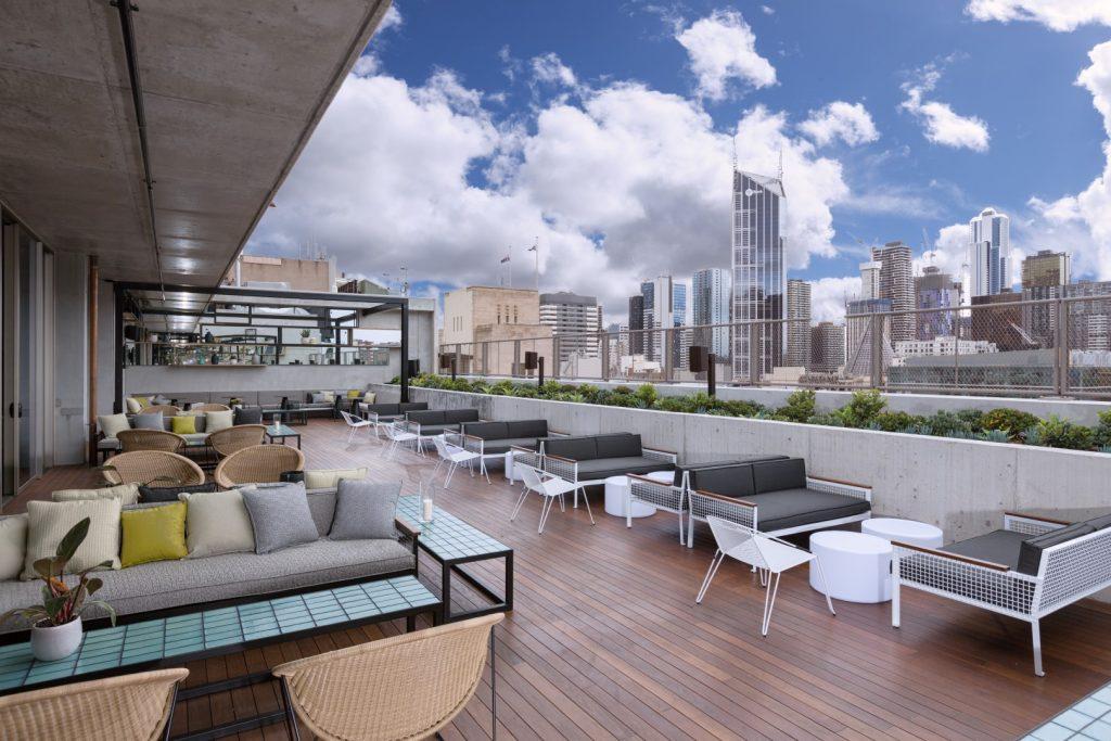 An open rooftop bar at a hotel