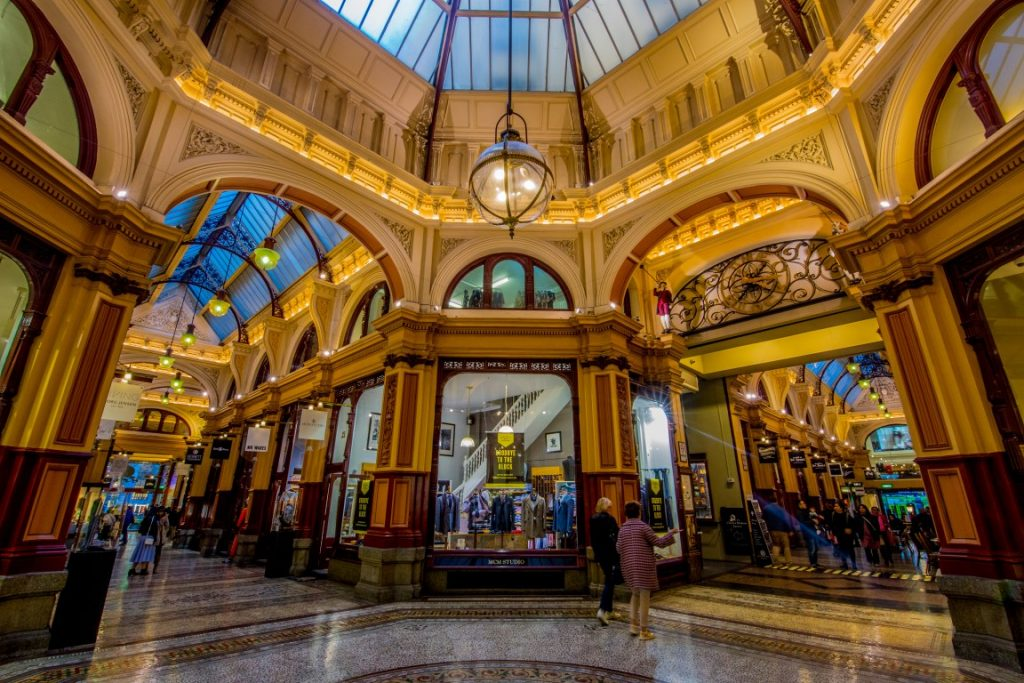 Shops in an old fashioned arcade with a dome ceiling