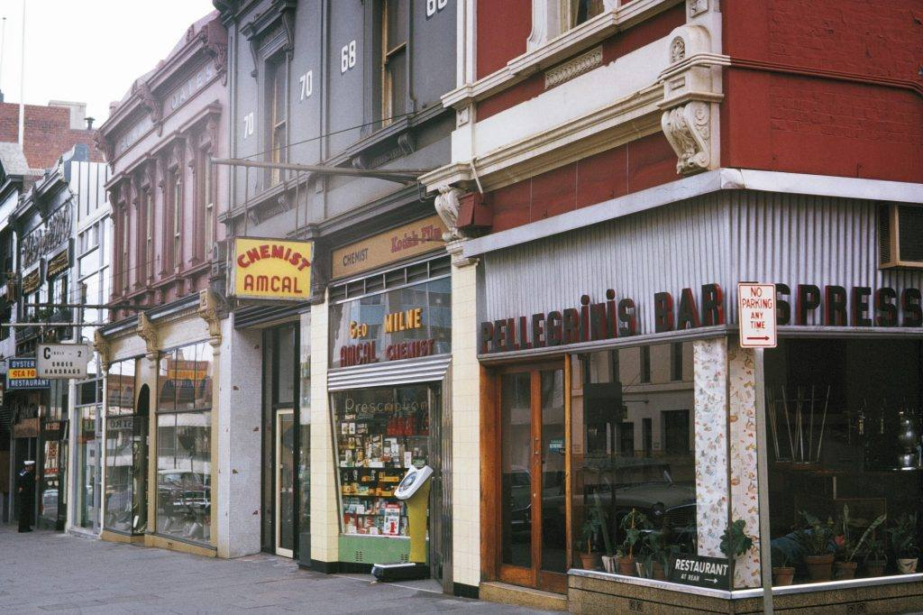 A colour photo of a cafe in the 1960s