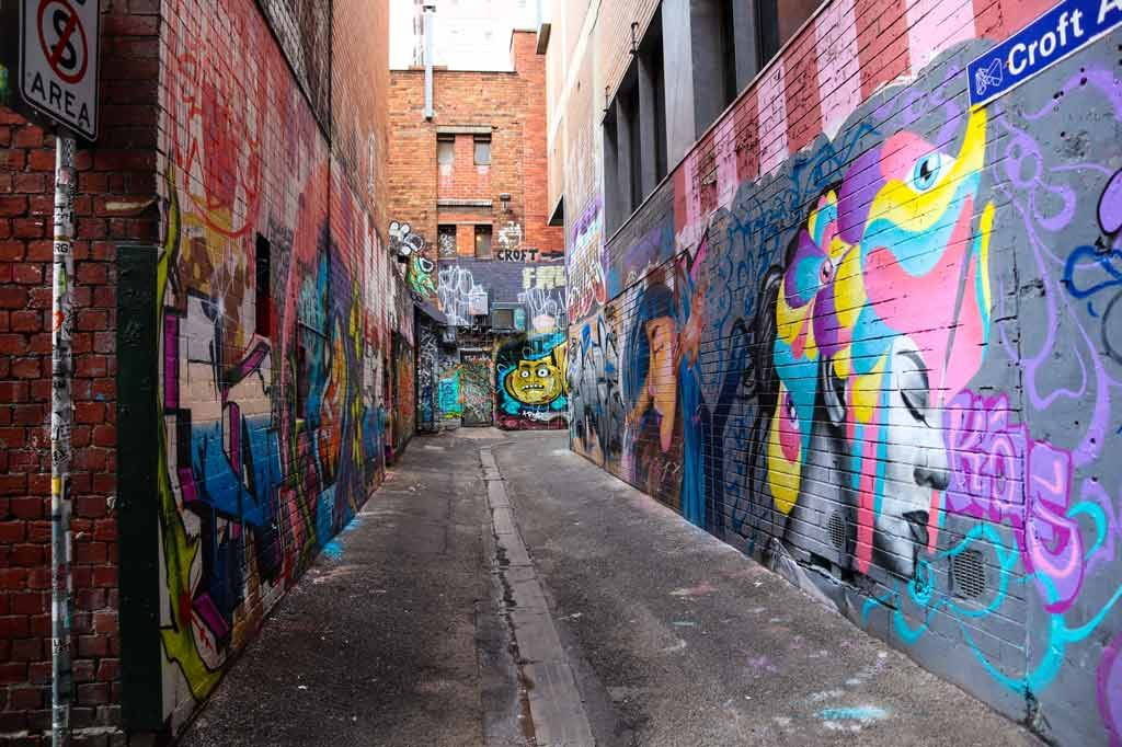 A laneway with street art covered brick walls