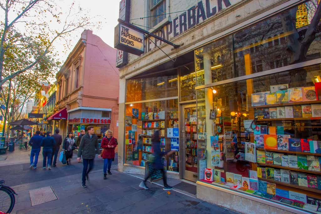 The front of a book store on a busy city street