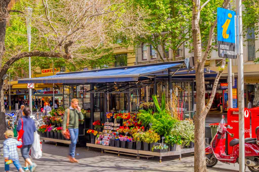 A colourful flower shop on the street