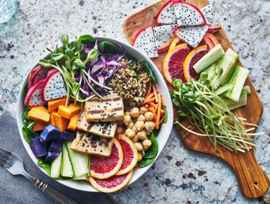 Colourful bowl of vegan food