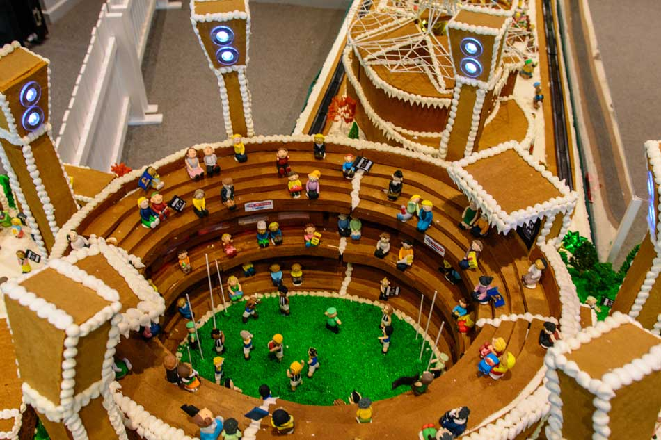 A miniature model of the big sports stadium made from gingerbread