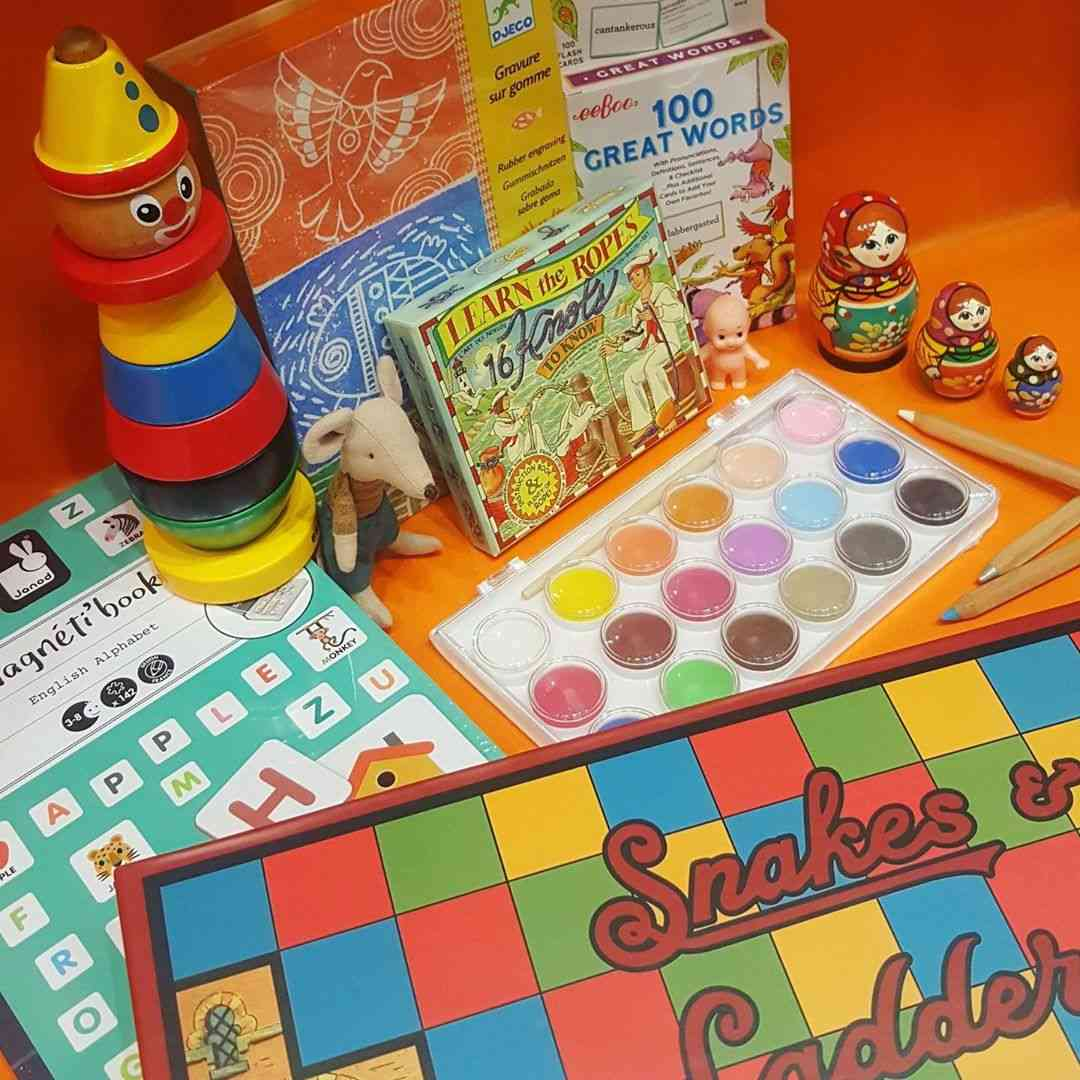 Children's board games, paints and crafts