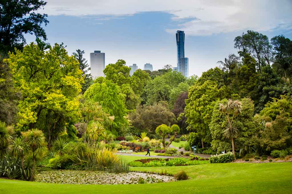 Royal Botanic Gardens with city skyline behind