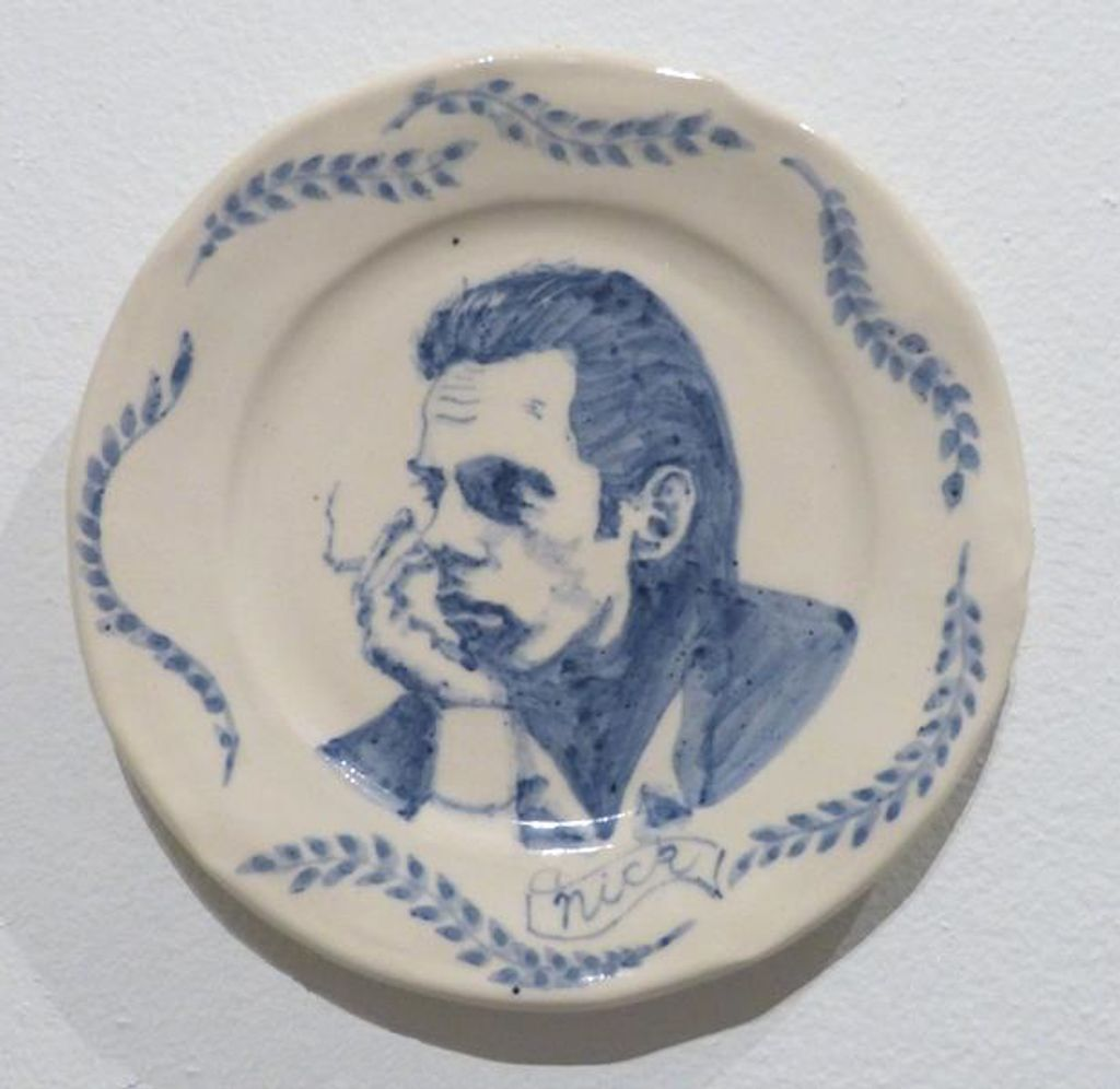 Ceramic plate with painting of Nick Cave