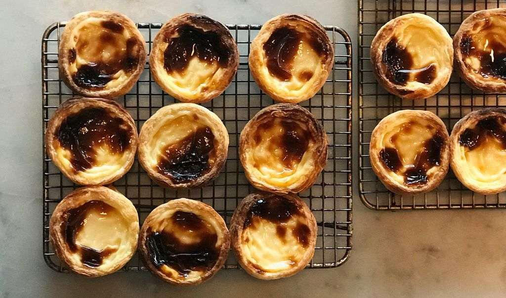 Portuguese tarts on a tray