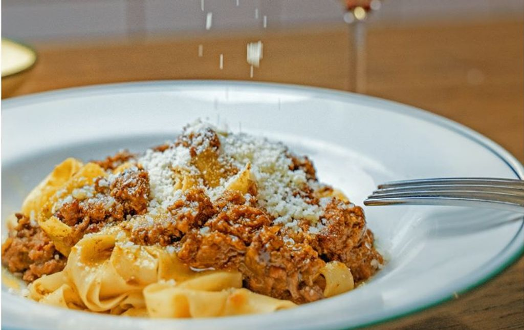 Bolognese in a white bowl