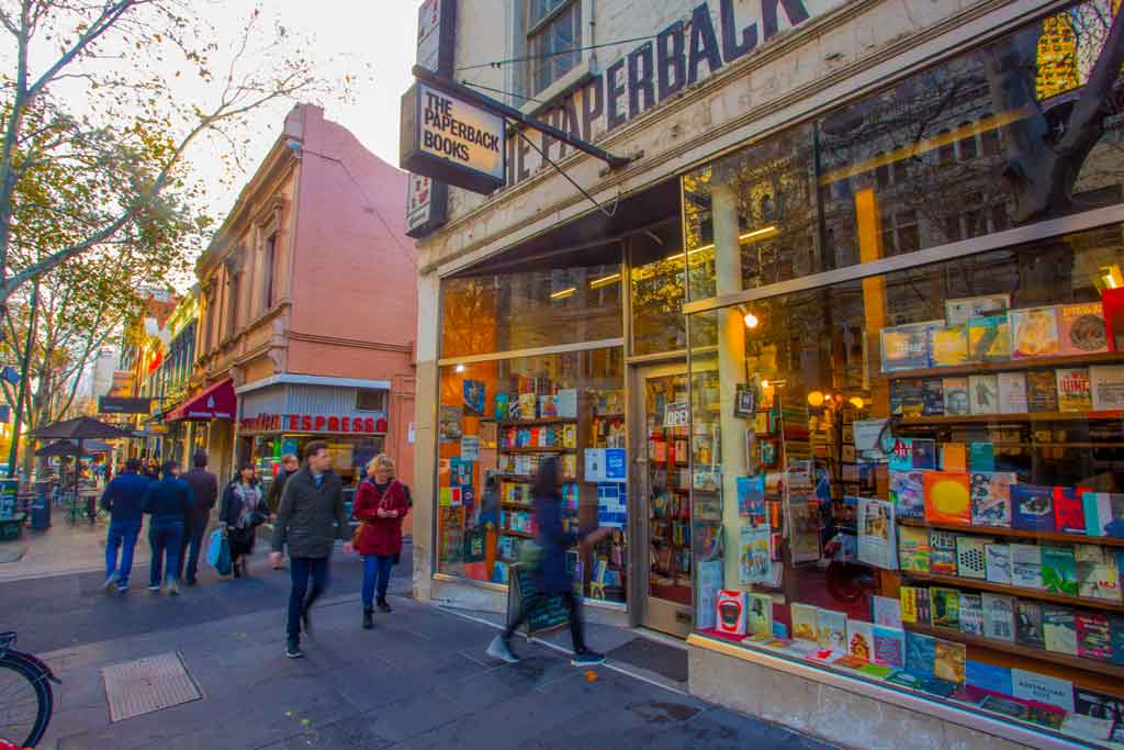Exterior of a bookshop on a city street