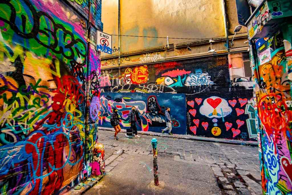 Colourful art in a city laneway