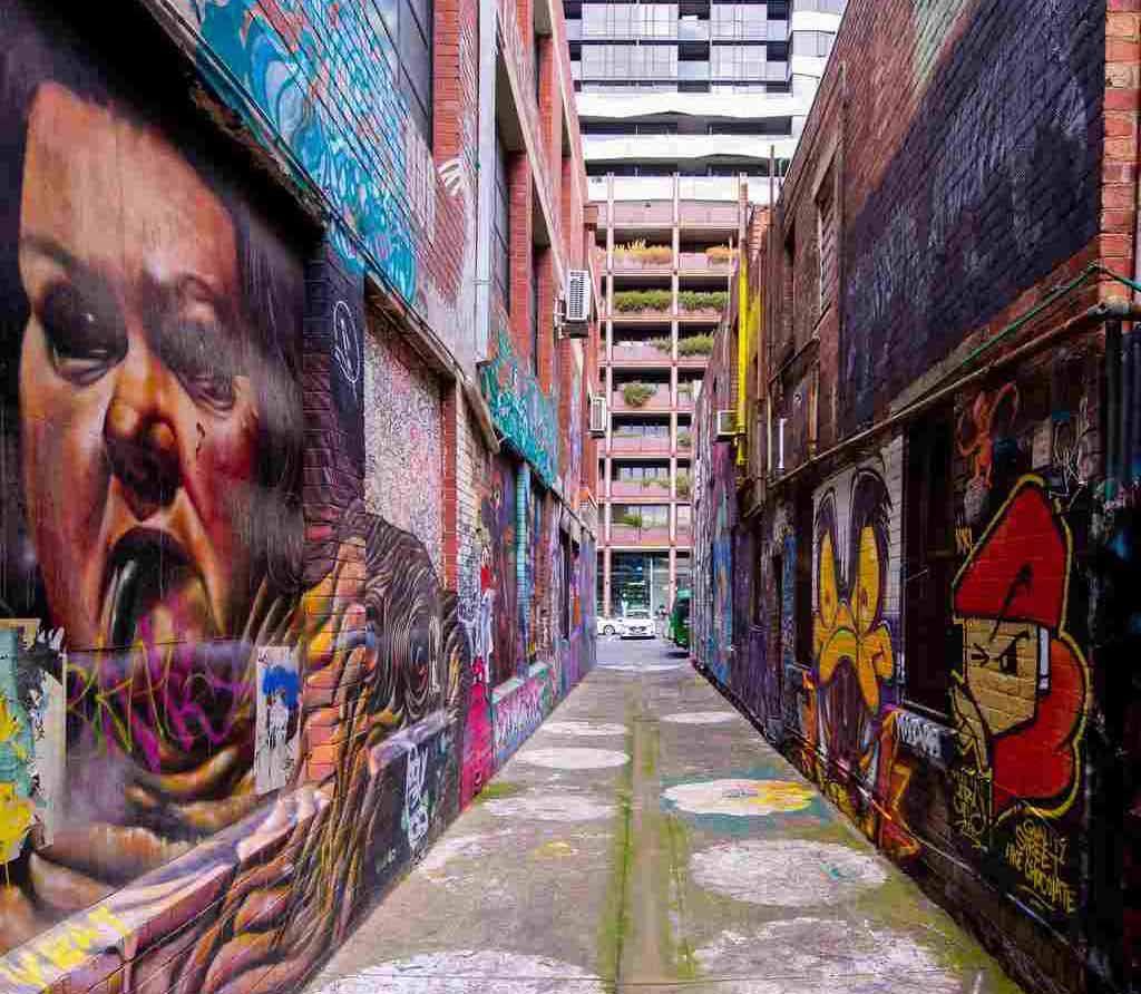 Artworks on a city laneway