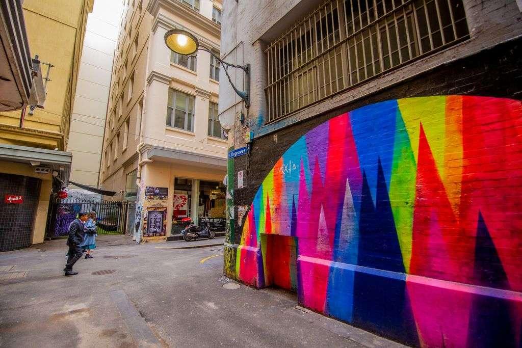 A colourful artwork on a city street