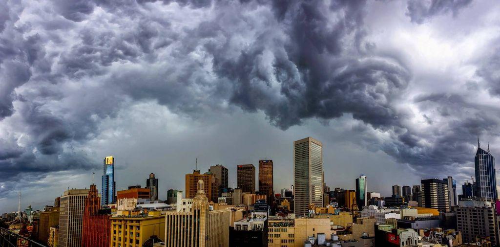 A storm cloud over a city