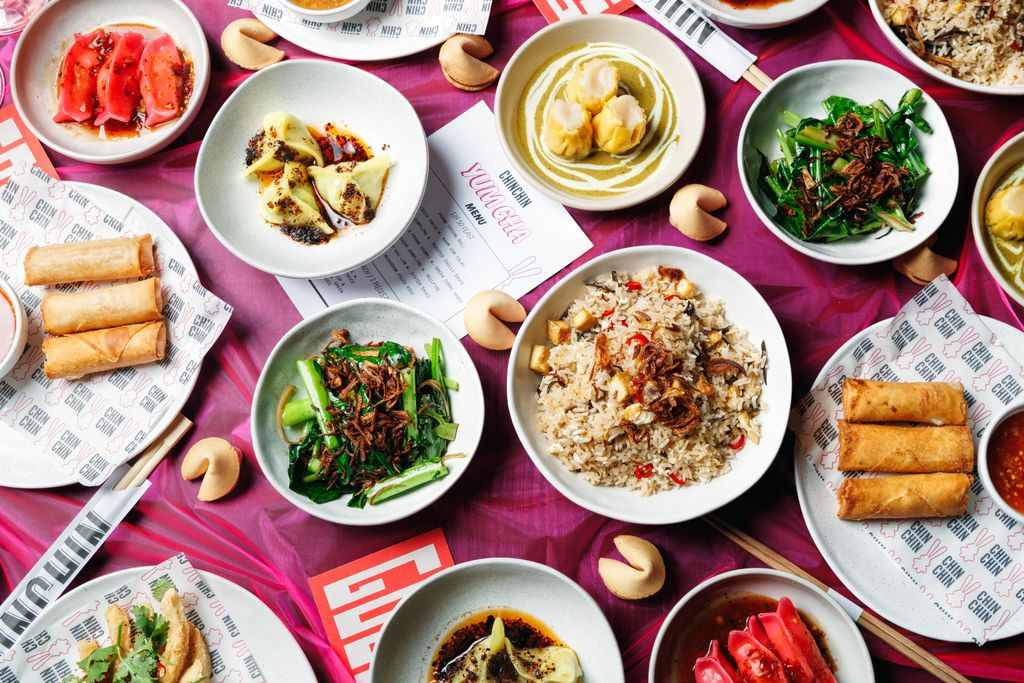 A flatlay of different thai food dishes
