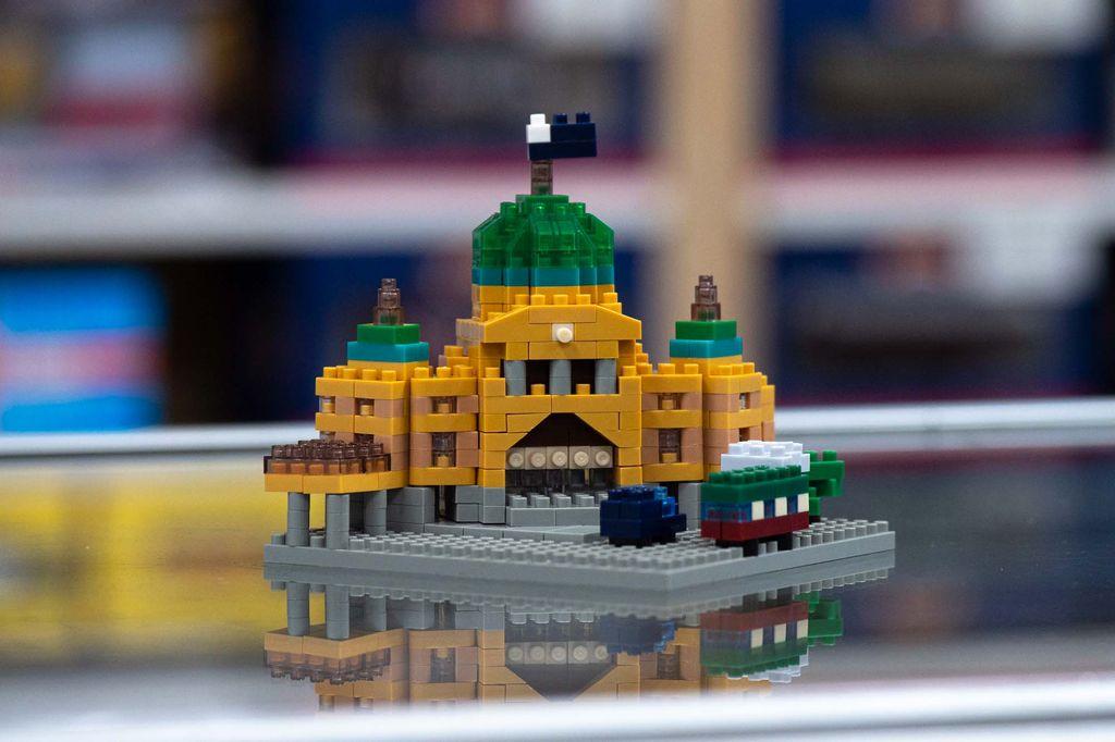 A lego figurine of a train station