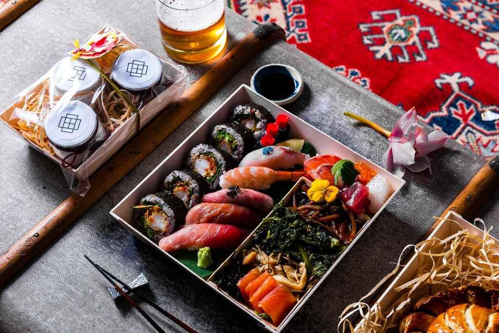 Sashimi and sushi in a box