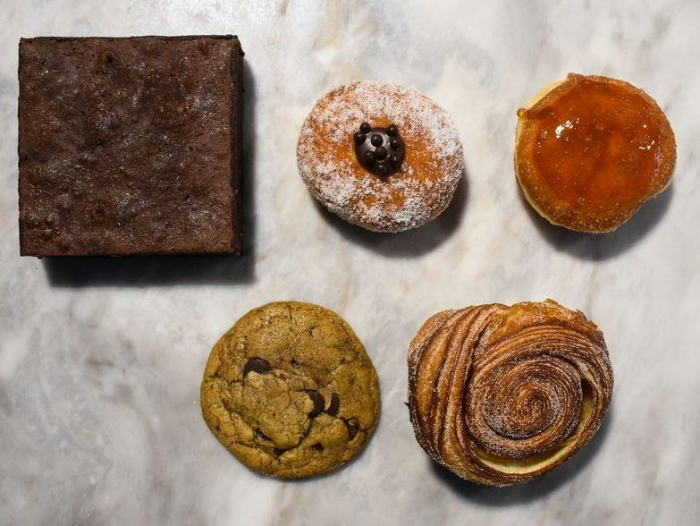 Baked goods and pastries on a table