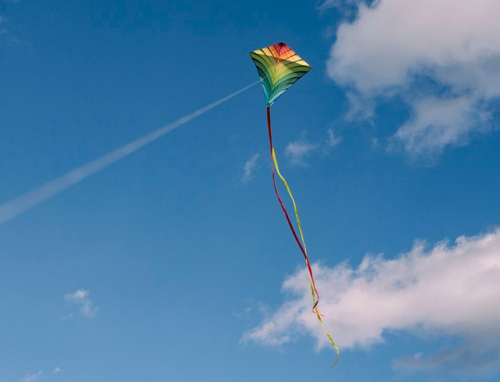 A large kite flying in the sky