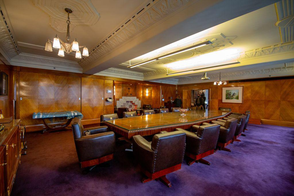 Inside an old art deco boardroom