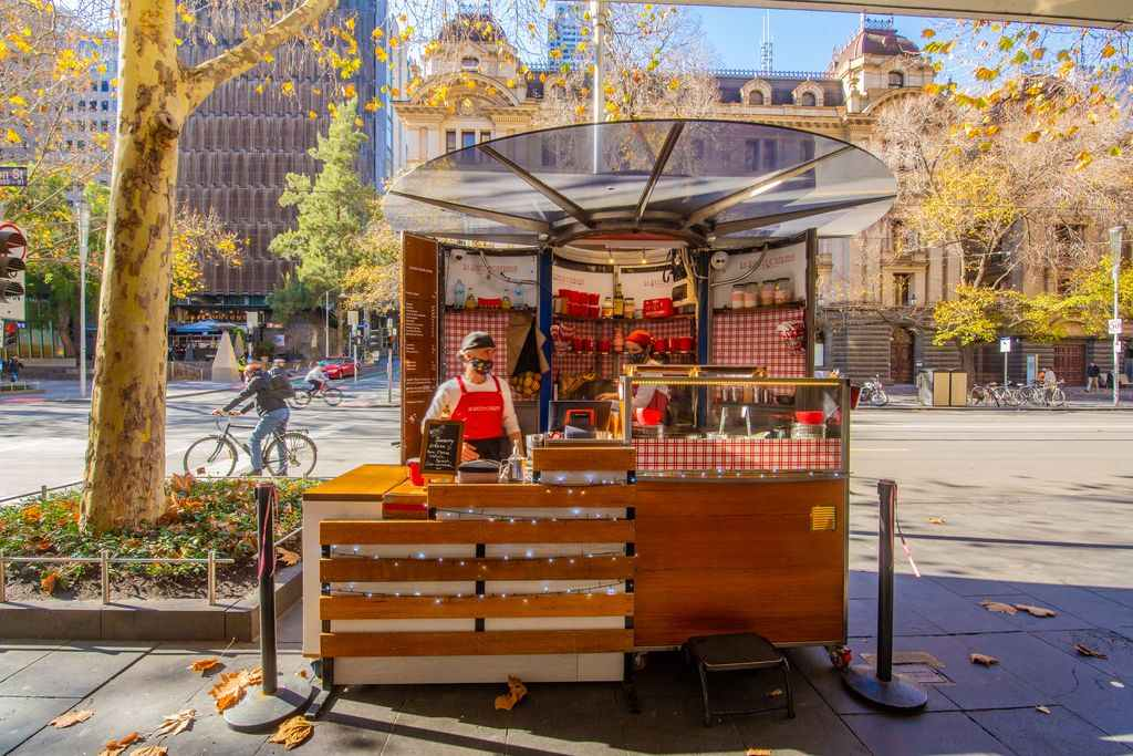 A food stand on a city street