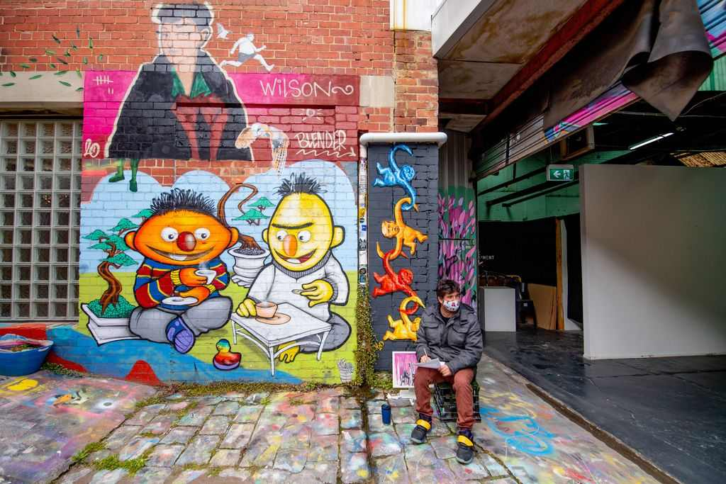 Street art depicting cartoons