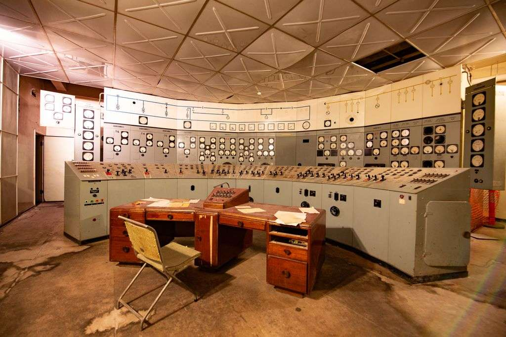 The inside of an old control room
