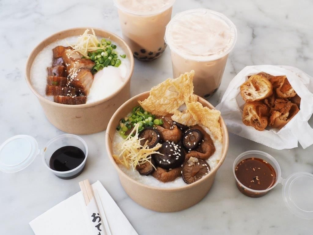 Bowls of takeaway congee